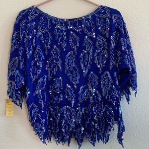 Scala Royal Blue Sequin Glitter Blouse
